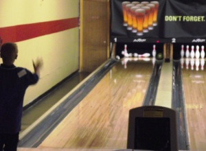 Simon bowling a spare in 2010