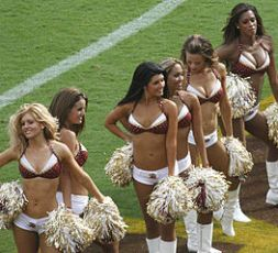 """Washington Redskin Cheerleaders"" by dbking, CC-G, via Wikimedia Commons"