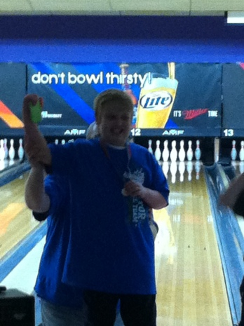 Simon awarded the Gold Medal for his lane, Special Olympics Bowling Tournament, December 1, 2012