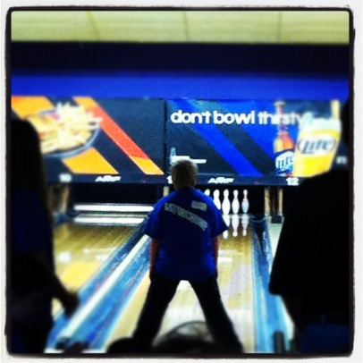 Simon bowling at the Special Olympics Tournament, December 1, 2012