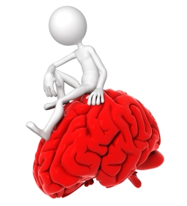 8918519 3d person sitting on red brain in a thoughtful pose