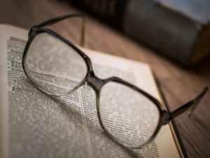 close up of eyeglasses